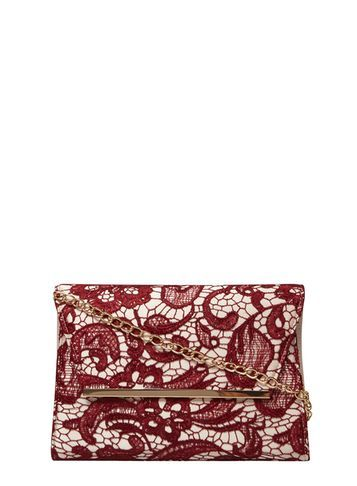 Womens Burgandy Lace Chain Clutch Bag Red - secondary colour: ivory/cream; predominant colour: burgundy; occasions: evening, occasion; type of pattern: standard; style: clutch; length: handle; size: standard; material: lace; finish: plain; pattern: patterned/print; season: s/s 2016; wardrobe: event