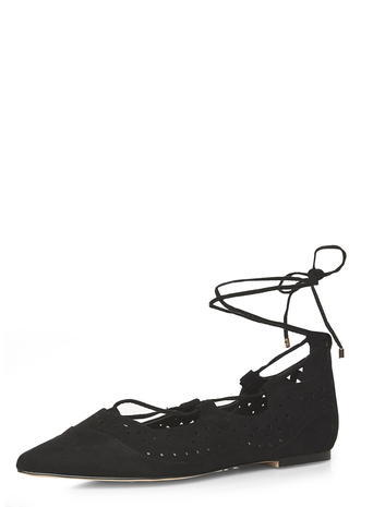 Womens Black 'henri' Ghillie Pumps Black - predominant colour: black; occasions: casual, creative work; heel height: flat; ankle detail: ankle tie; toe: pointed toe; style: ballerinas / pumps; finish: plain; pattern: plain; material: faux suede; season: s/s 2016