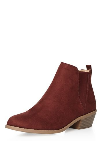 Womens Rust 'millie' Prairie Boots Red - predominant colour: burgundy; secondary colour: tan; occasions: casual, creative work; material: suede; heel height: mid; heel: block; toe: pointed toe; boot length: ankle boot; finish: plain; pattern: plain; style: chelsea; season: s/s 2016; wardrobe: highlight