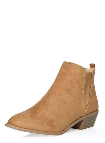 Womens Honey 'millie' Prairie Boots Beige - predominant colour: camel; occasions: casual, creative work; heel height: mid; heel: block; toe: pointed toe; boot length: ankle boot; finish: plain; pattern: plain; material: faux suede; style: chelsea; season: s/s 2016; wardrobe: basic