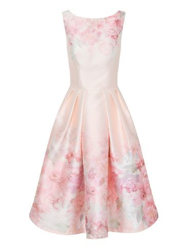 Womens **Chi Chi London Floral Dress Multi Colour - length: below the knee; neckline: round neck; sleeve style: sleeveless; style: prom dress; predominant colour: pink; fit: fitted at waist & bust; fibres: polyester/polyamide - 100%; occasions: occasion; sleeve length: sleeveless; texture group: structured shiny - satin/tafetta/silk etc.; pattern type: fabric; pattern size: standard; pattern: florals; season: s/s 2016