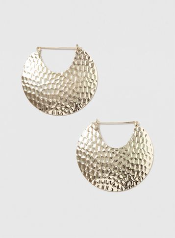 Womens Large Gold Textured Hoop Earrings Gold - predominant colour: gold; occasions: evening; style: hoop; length: mid; size: standard; material: chain/metal; fastening: pierced; finish: metallic; season: s/s 2016; wardrobe: event