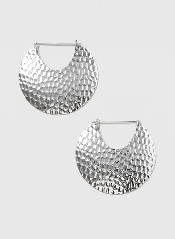 Womens Large Silver Textured Hoop Earrings Silver - predominant colour: silver; occasions: evening, creative work; style: hoop; length: mid; size: standard; material: chain/metal; fastening: pierced; finish: metallic; season: s/s 2016
