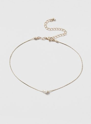 Womens Gold Chain Choker With Pearl Cream - secondary colour: ivory/cream; predominant colour: gold; occasions: evening; style: choker/collar/torque; length: choker; size: small/fine; material: chain/metal; finish: metallic; embellishment: pearls; season: s/s 2016