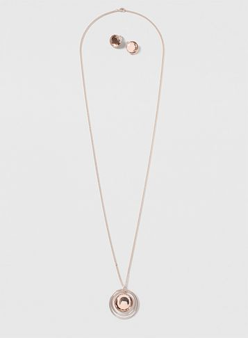 Womens Rose Gold Stone Jewellery Set Pink - predominant colour: gold; occasions: evening; style: pendant; length: long; size: standard; material: chain/metal; finish: metallic; season: s/s 2016; wardrobe: event
