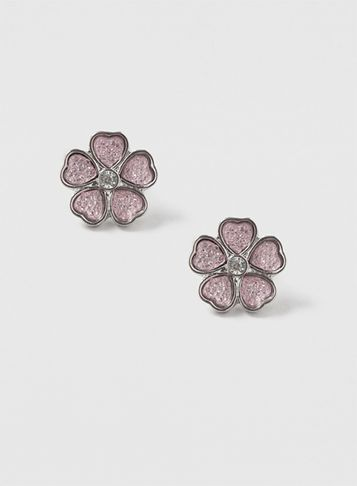 Womens Pink Flower Studs Pink - secondary colour: blush; predominant colour: silver; occasions: evening; style: stud; length: short; size: standard; material: chain/metal; fastening: pierced; finish: metallic; season: s/s 2016; wardrobe: event