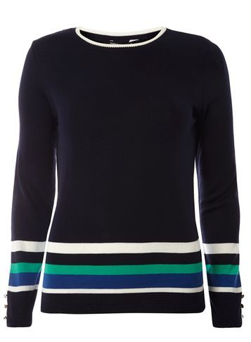Womens Navy Stripe Crew Neck Blue - pattern: horizontal stripes; secondary colour: white; predominant colour: navy; occasions: casual; length: standard; style: top; fit: body skimming; neckline: crew; sleeve length: long sleeve; sleeve style: standard; texture group: knits/crochet; pattern type: knitted - other; fibres: viscose/rayon - mix; multicoloured: multicoloured; season: s/s 2016; wardrobe: basic