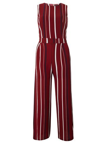 Womens **Tenki Maroon Striped Jumpsuit Maroon - fit: tailored/fitted; sleeve style: sleeveless; pattern: striped; secondary colour: ivory/cream; predominant colour: burgundy; length: ankle length; fibres: polyester/polyamide - 100%; occasions: occasion; neckline: crew; sleeve length: sleeveless; style: jumpsuit; pattern type: fabric; texture group: other - light to midweight; season: s/s 2016