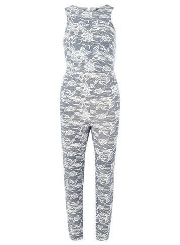 Womens **Tenki Blue Floral Jumpsuit Blue - length: standard; fit: tailored/fitted; sleeve style: sleeveless; secondary colour: white; predominant colour: light grey; occasions: evening; fibres: polyester/polyamide - 100%; neckline: crew; sleeve length: sleeveless; style: jumpsuit; pattern type: fabric; pattern size: standard; pattern: patterned/print; texture group: brocade/jacquard; season: s/s 2016; wardrobe: event