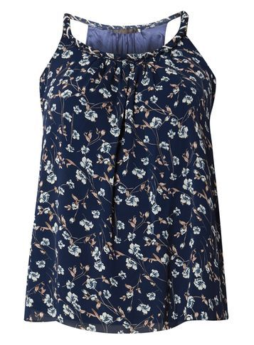 Womens **Tenki Blue Strappy Floral Cami Top Blue - neckline: round neck; sleeve style: sleeveless; style: vest top; secondary colour: white; predominant colour: navy; occasions: casual; length: standard; fibres: polyester/polyamide - 100%; fit: body skimming; sleeve length: sleeveless; pattern type: fabric; pattern: florals; texture group: other - light to midweight; multicoloured: multicoloured; season: s/s 2016; wardrobe: highlight