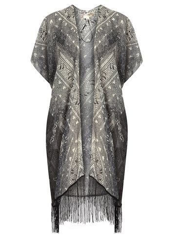 Womens **Voulez Vouz Black Tassel Kimono Black - neckline: collarless open; style: open front; length: on the knee; secondary colour: ivory/cream; predominant colour: mid grey; occasions: casual; fibres: polyester/polyamide - 100%; fit: loose; sleeve length: short sleeve; sleeve style: standard; pattern type: fabric; pattern size: standard; pattern: patterned/print; texture group: other - light to midweight; embellishment: fringing; season: s/s 2016; wardrobe: highlight