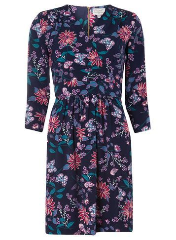 Womens **Closet Multi Coloured Print Dress Multi Colour - length: mid thigh; neckline: v-neck; secondary colour: pink; predominant colour: navy; occasions: casual; fit: fitted at waist & bust; style: fit & flare; fibres: polyester/polyamide - 100%; sleeve length: 3/4 length; sleeve style: standard; pattern type: fabric; pattern: florals; texture group: jersey - stretchy/drapey; multicoloured: multicoloured; season: s/s 2016