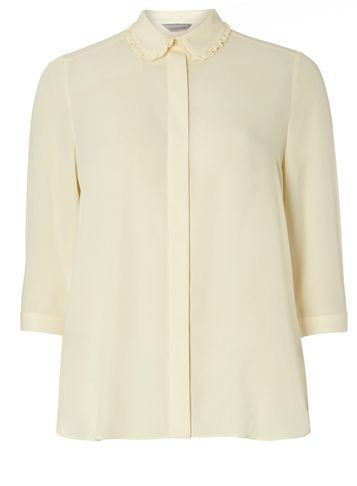 Womens Petite Ivory Frill Shirt Ivory - neckline: shirt collar/peter pan/zip with opening; pattern: plain; style: shirt; predominant colour: ivory/cream; occasions: casual; length: standard; fibres: polyester/polyamide - 100%; fit: body skimming; sleeve length: 3/4 length; sleeve style: standard; texture group: crepes; pattern type: fabric; season: s/s 2016; wardrobe: basic
