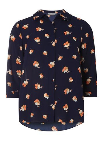 Womens Petite Navy Floral Print Shirt Navy - neckline: shirt collar/peter pan/zip with opening; style: shirt; predominant colour: navy; secondary colour: coral; occasions: casual; length: standard; fibres: polyester/polyamide - 100%; fit: body skimming; sleeve length: 3/4 length; sleeve style: standard; texture group: cotton feel fabrics; pattern type: fabric; pattern: florals; multicoloured: multicoloured; season: s/s 2016; wardrobe: highlight