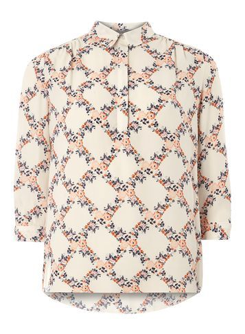 Womens Petite Print Roll Sleeve Shirt Coral - neckline: shirt collar/peter pan/zip with opening; style: shirt; predominant colour: white; secondary colour: nude; occasions: casual; length: standard; fibres: polyester/polyamide - 100%; fit: body skimming; sleeve length: 3/4 length; sleeve style: standard; pattern type: fabric; pattern: patterned/print; texture group: woven light midweight; multicoloured: multicoloured; season: s/s 2016; wardrobe: highlight