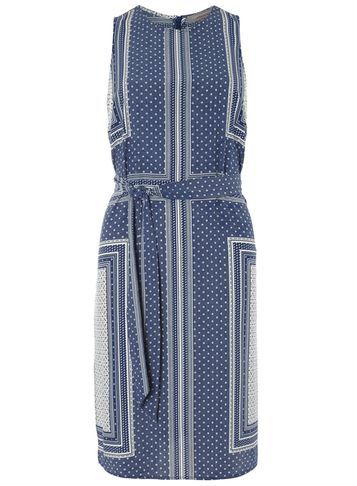 Womens Petite Scarf Print Midi Dress Blue - style: shift; sleeve style: sleeveless; waist detail: belted waist/tie at waist/drawstring; secondary colour: ivory/cream; predominant colour: denim; length: on the knee; fit: body skimming; fibres: polyester/polyamide - 100%; neckline: crew; sleeve length: sleeveless; pattern type: fabric; pattern: patterned/print; texture group: other - light to midweight; occasions: creative work; season: s/s 2016; wardrobe: highlight