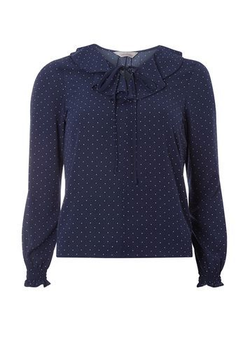 Womens Petite Blue Spot Ruffle Blouse Blue - style: blouse; pattern: polka dot; predominant colour: navy; occasions: casual; length: standard; fibres: polyester/polyamide - stretch; fit: body skimming; neckline: crew; sleeve length: long sleeve; sleeve style: standard; bust detail: bulky details at bust; pattern type: fabric; texture group: other - light to midweight; season: s/s 2016; wardrobe: highlight