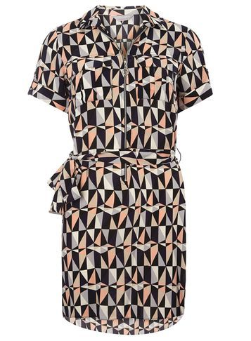 Womens Petite Navy Geo Shirtdress Navy - style: shirt; length: mid thigh; neckline: shirt collar/peter pan/zip with opening; bust detail: pocket detail at bust; waist detail: belted waist/tie at waist/drawstring; secondary colour: nude; predominant colour: black; occasions: casual, creative work; fit: straight cut; fibres: polyester/polyamide - 100%; sleeve length: short sleeve; sleeve style: standard; pattern type: fabric; pattern: patterned/print; texture group: woven light midweight; multicoloured: multicoloured; season: s/s 2016; wardrobe: highlight