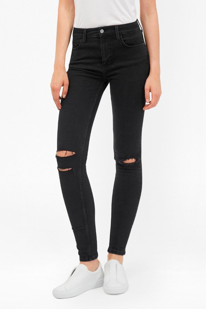 Rebound Ripped Knee Skinny Jeans Ripped Black - style: skinny leg; length: standard; pattern: plain; pocket detail: traditional 5 pocket; waist: mid/regular rise; predominant colour: black; occasions: casual; fibres: cotton - stretch; texture group: denim; pattern type: fabric; jeans detail: rips; season: s/s 2016