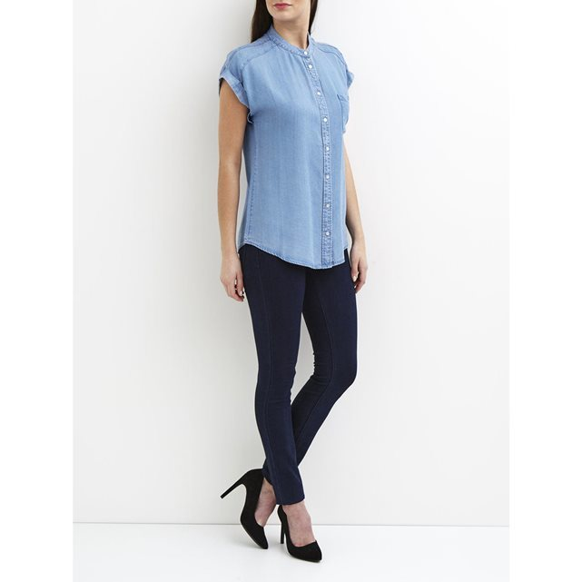 Vicali Denim Shirt - pattern: plain; style: shirt; predominant colour: denim; occasions: casual; length: standard; neckline: collarstand; fibres: cotton - 100%; fit: body skimming; sleeve length: short sleeve; sleeve style: standard; texture group: denim; pattern type: fabric; season: s/s 2016; wardrobe: basic