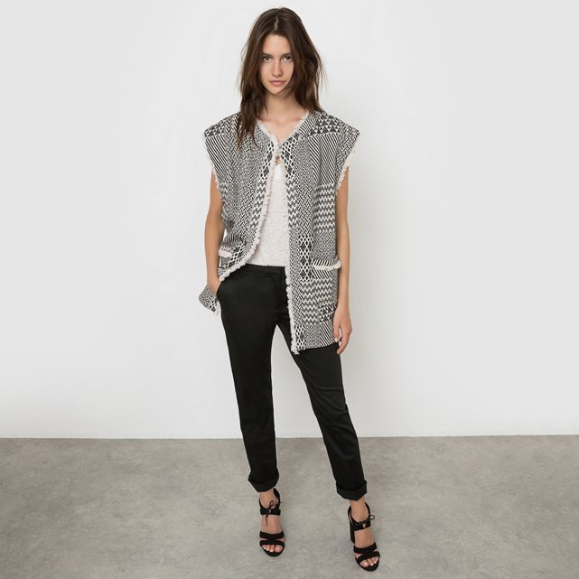 Printed Fringed Gilet With Pockets - sleeve style: dolman/batwing; collar: round collar/collarless; fit: loose; length: below the bottom; predominant colour: white; secondary colour: black; occasions: casual; fibres: cotton - mix; sleeve length: short sleeve; trends: monochrome; collar break: medium; pattern type: fabric; pattern size: standard; pattern: patterned/print; texture group: woven light midweight; style: fluid/kimono; season: s/s 2016; wardrobe: highlight