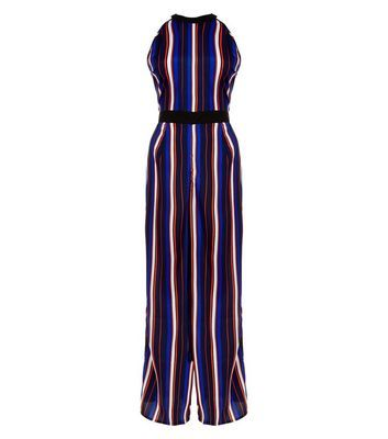 Blue Stripe Wide Leg Jumpsuit - fit: fitted at waist; pattern: vertical stripes; sleeve style: sleeveless; secondary colour: burgundy; predominant colour: royal blue; length: ankle length; fibres: polyester/polyamide - 100%; occasions: occasion; sleeve length: sleeveless; style: jumpsuit; pattern type: fabric; texture group: other - light to midweight; multicoloured: multicoloured; season: s/s 2016; neckline: high halter neck; wardrobe: event