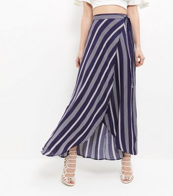 Blue Stripe Tie Waist Maxi Skirt - pattern: striped; length: ankle length; fit: loose/voluminous; hip detail: draws attention to hips; waist: mid/regular rise; secondary colour: white; predominant colour: navy; occasions: casual; style: maxi skirt; fibres: viscose/rayon - 100%; texture group: sheer fabrics/chiffon/organza etc.; pattern type: fabric; multicoloured: multicoloured; season: s/s 2016; wardrobe: highlight