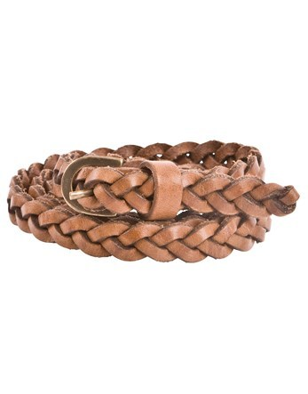 Slim Leather Belt - predominant colour: camel; occasions: casual, creative work; type of pattern: standard; style: plaited/woven; size: standard; worn on: hips; material: leather; pattern: plain; finish: plain; season: s/s 2016