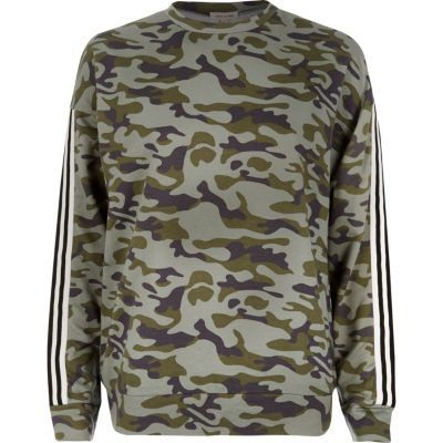 Womens Khaki Camo Stripe Sweatshirt - style: sweat top; predominant colour: khaki; occasions: casual; length: standard; fibres: cotton - stretch; fit: loose; neckline: crew; sleeve length: long sleeve; sleeve style: standard; pattern type: fabric; pattern size: standard; pattern: patterned/print; texture group: jersey - stretchy/drapey; multicoloured: multicoloured; season: s/s 2016; wardrobe: highlight