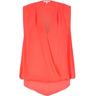 Womens Pink Wrap Blouse Bodysuit - neckline: v-neck; pattern: plain; sleeve style: sleeveless; style: wrap/faux wrap; predominant colour: coral; length: standard; fibres: polyester/polyamide - 100%; fit: straight cut; sleeve length: sleeveless; texture group: crepes; pattern type: fabric; occasions: creative work; season: s/s 2016; wardrobe: highlight