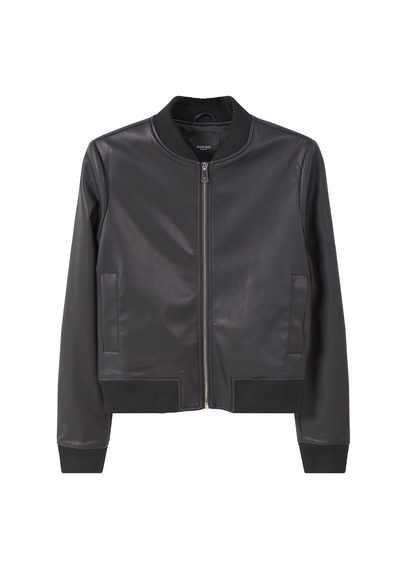 Ribbed Edges Bomber - pattern: plain; collar: round collar/collarless; style: bomber; predominant colour: black; occasions: casual, creative work; length: standard; fit: straight cut (boxy); fibres: polyester/polyamide - 100%; sleeve length: long sleeve; sleeve style: standard; texture group: leather; collar break: high; pattern type: fabric; season: s/s 2016; wardrobe: basic