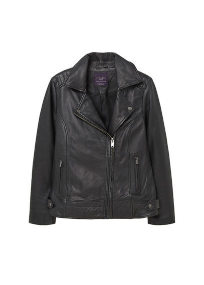 Zip Detail Leather Biker Jacket - pattern: plain; style: biker; collar: asymmetric biker; fit: slim fit; predominant colour: black; occasions: casual; length: standard; fibres: leather - 100%; sleeve length: long sleeve; sleeve style: standard; texture group: leather; collar break: medium; pattern type: fabric; season: s/s 2016; wardrobe: basic