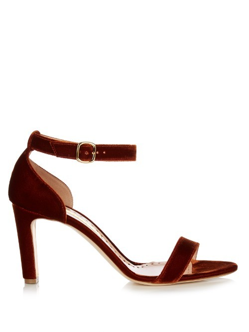 Barrii Velvet Sandals - predominant colour: burgundy; occasions: evening, occasion; material: velvet; heel height: high; ankle detail: ankle strap; heel: stiletto; toe: open toe/peeptoe; style: standard; finish: plain; pattern: plain; season: s/s 2016; wardrobe: event
