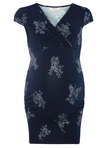 Womens **Maternity Navy Folk Floral Ruched Wrap Top Blue - neckline: v-neck; sleeve style: capped; length: below the bottom; style: tunic; secondary colour: white; predominant colour: navy; occasions: casual, creative work; fibres: cotton - stretch; fit: body skimming; sleeve length: short sleeve; pattern type: fabric; pattern size: standard; pattern: florals; texture group: jersey - stretchy/drapey; season: s/s 2016; wardrobe: highlight