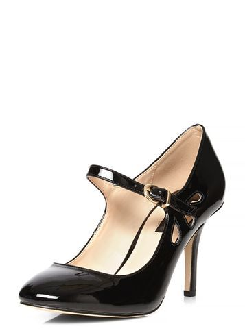 Womens Black 'clemmy' Mary Jane Court Shoes Black - predominant colour: charcoal; material: faux leather; heel height: mid; heel: stiletto; toe: round toe; style: mary janes; finish: patent; pattern: plain; occasions: creative work; season: s/s 2016; wardrobe: investment