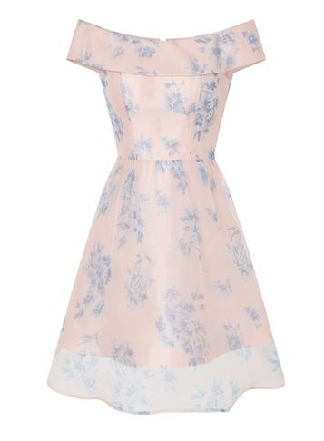 Womens **Chi Chi London Floral Bardot Dress Multi Colour - neckline: off the shoulder; sleeve style: capped; style: full skirt; predominant colour: blush; secondary colour: pale blue; occasions: evening; length: on the knee; fit: fitted at waist & bust; fibres: polyester/polyamide - 100%; sleeve length: short sleeve; pattern type: fabric; pattern size: big & busy; pattern: florals; texture group: other - light to midweight; multicoloured: multicoloured; season: s/s 2016; wardrobe: event