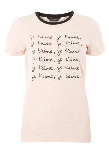 Womens Pink Je T'aime Motif Tee Pink - style: t-shirt; predominant colour: blush; secondary colour: black; occasions: casual; length: standard; fibres: polyester/polyamide - mix; fit: body skimming; neckline: crew; sleeve length: short sleeve; sleeve style: standard; pattern type: fabric; texture group: jersey - stretchy/drapey; pattern: graphic/slogan; multicoloured: multicoloured; season: s/s 2016; wardrobe: highlight