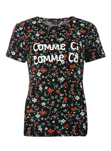 Womens Black Floral 'comme Ci Comme Ca' Tee Black - style: t-shirt; secondary colour: bright orange; predominant colour: black; occasions: casual; length: standard; fibres: viscose/rayon - 100%; fit: body skimming; neckline: crew; sleeve length: short sleeve; sleeve style: standard; pattern type: fabric; pattern: florals; texture group: jersey - stretchy/drapey; multicoloured: multicoloured; season: s/s 2016