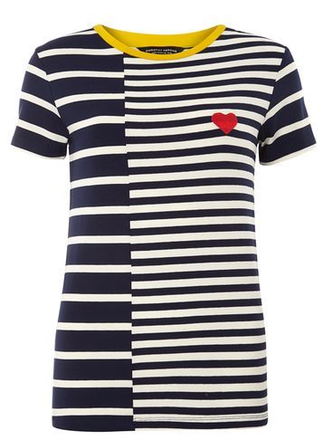 Womens Navy And Ivory Heart Badge Tee Blue - pattern: horizontal stripes; style: t-shirt; secondary colour: white; predominant colour: navy; occasions: casual; length: standard; fibres: viscose/rayon - stretch; fit: body skimming; neckline: crew; sleeve length: short sleeve; sleeve style: standard; pattern type: fabric; texture group: jersey - stretchy/drapey; multicoloured: multicoloured; season: s/s 2016; wardrobe: basic
