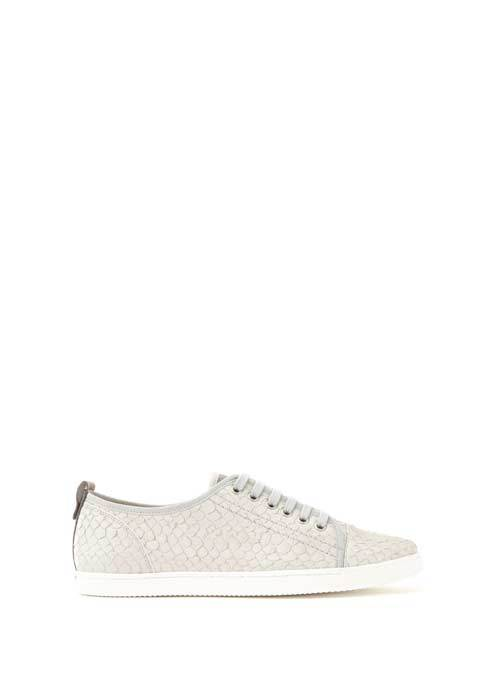 Textured Grey Emily Lace Up Trainer - predominant colour: light grey; occasions: casual; material: fabric; heel height: flat; toe: round toe; style: trainers; finish: plain; pattern: plain; embellishment: lace; season: s/s 2016; wardrobe: basic