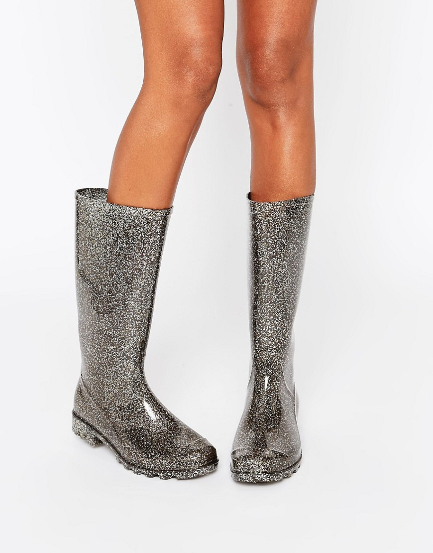 Gangster Wellies Pewter Glitter - predominant colour: silver; occasions: casual; material: plastic/rubber; heel height: mid; embellishment: glitter; heel: block; toe: round toe; boot length: mid calf; style: wellies; finish: metallic; pattern: plain; season: s/s 2016; wardrobe: highlight