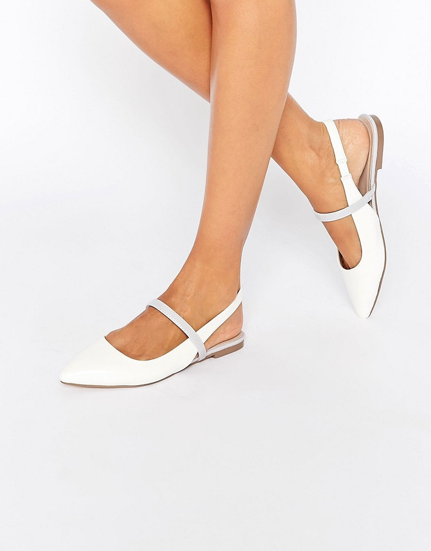 Latimer Pointed Ballet Flats White - predominant colour: white; occasions: casual, creative work; material: faux leather; heel height: flat; toe: pointed toe; style: ballerinas / pumps; finish: plain; pattern: plain; season: s/s 2016; wardrobe: basic