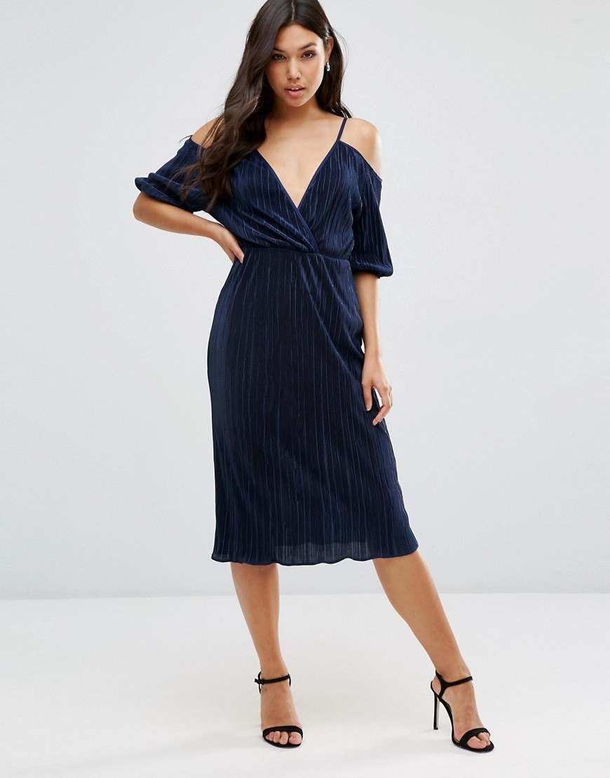 Cold Shoulder Plisse Pleated Midi Dress Navy - style: faux wrap/wrap; length: below the knee; neckline: v-neck; pattern: plain; predominant colour: navy; occasions: evening, occasion; fit: body skimming; fibres: polyester/polyamide - 100%; hip detail: subtle/flattering hip detail; shoulder detail: cut out shoulder; sleeve length: half sleeve; sleeve style: standard; texture group: sheer fabrics/chiffon/organza etc.; pattern type: fabric; season: s/s 2016; wardrobe: event