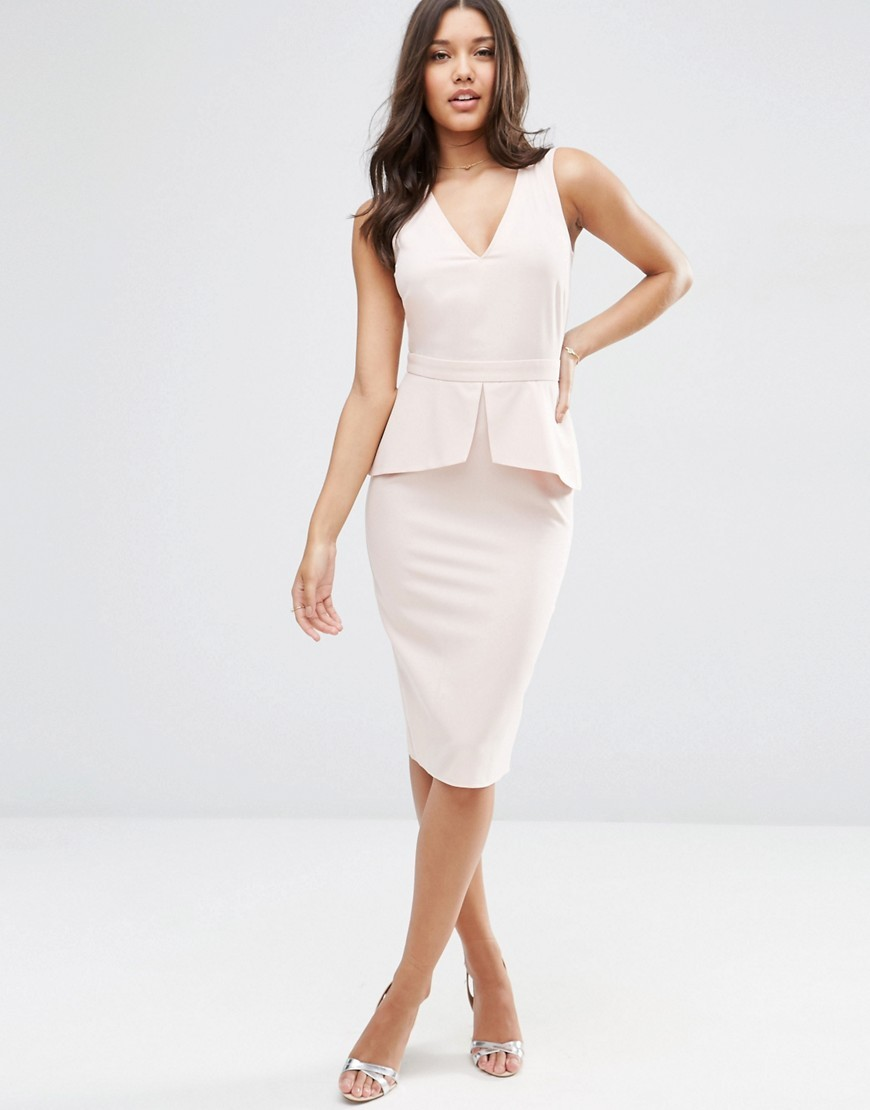 Sleeveless Pencil Dress With Peplum Detail Blush - style: shift; neckline: low v-neck; fit: tailored/fitted; pattern: plain; sleeve style: sleeveless; waist detail: peplum waist detail; predominant colour: blush; occasions: evening, occasion; length: on the knee; fibres: polyester/polyamide - 100%; sleeve length: sleeveless; texture group: crepes; pattern type: fabric; season: s/s 2016; wardrobe: event