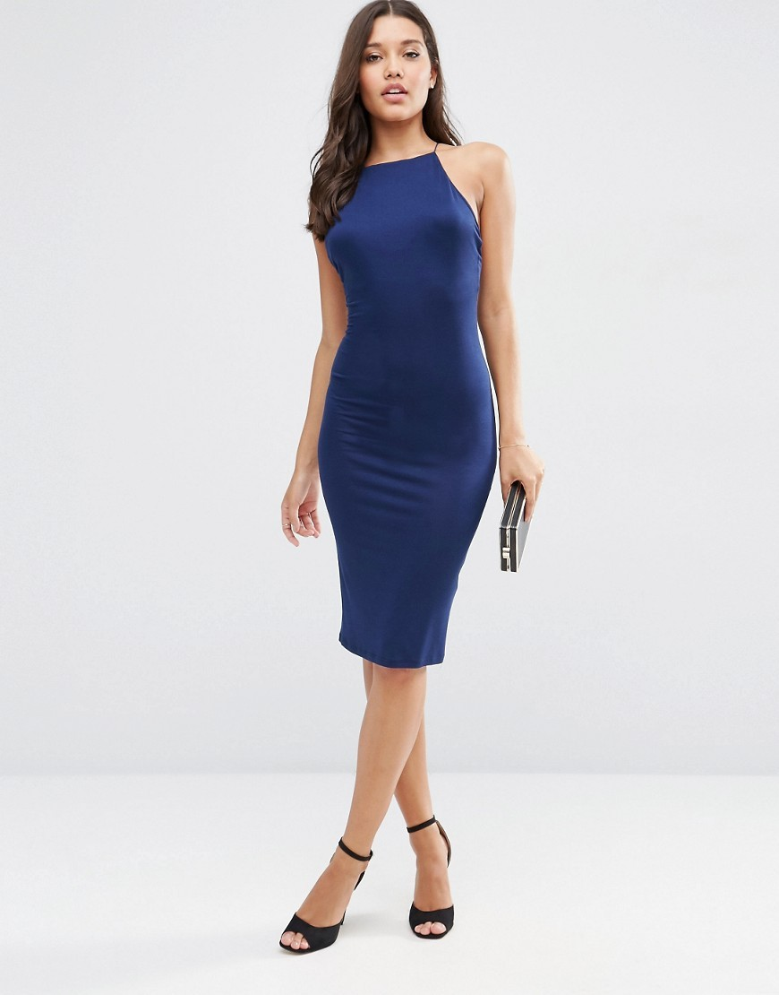 90's Strappy Midi Cami Dress Navy - neckline: high square neck; fit: tight; pattern: plain; sleeve style: sleeveless; style: bodycon; hip detail: draws attention to hips; predominant colour: navy; occasions: evening, occasion; length: on the knee; fibres: polyester/polyamide - stretch; sleeve length: sleeveless; texture group: jersey - clingy; pattern type: fabric; season: s/s 2016; wardrobe: event