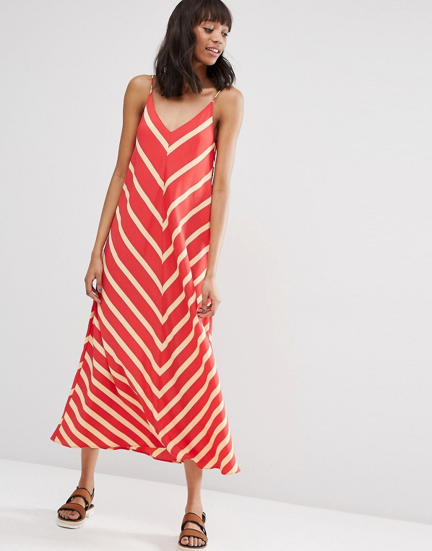 Chevron Stripe Maxi Dress Red Print - neckline: low v-neck; sleeve style: spaghetti straps; pattern: horizontal stripes; style: maxi dress; length: ankle length; secondary colour: white; predominant colour: true red; occasions: casual, holiday; fit: soft a-line; fibres: polyester/polyamide - 100%; sleeve length: sleeveless; pattern type: fabric; pattern size: standard; texture group: woven light midweight; season: s/s 2016; wardrobe: highlight