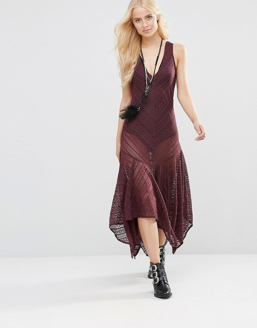 Lila Slip Dress Eggplant - length: calf length; neckline: low v-neck; sleeve style: standard vest straps/shoulder straps; pattern: plain; fit: bias; predominant colour: aubergine; occasions: casual; style: asymmetric (hem); fibres: polyester/polyamide - 100%; hip detail: soft pleats at hip/draping at hip/flared at hip; sleeve length: sleeveless; texture group: sheer fabrics/chiffon/organza etc.; pattern type: fabric; season: s/s 2016