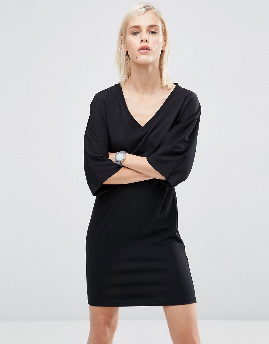 Mini T Shirt Dress With Kimono Sleeve Black - style: t-shirt; length: mid thigh; neckline: v-neck; sleeve style: dolman/batwing; pattern: plain; predominant colour: black; occasions: evening, creative work; fit: body skimming; fibres: cotton - stretch; sleeve length: half sleeve; pattern type: fabric; texture group: jersey - stretchy/drapey; season: s/s 2016; wardrobe: investment