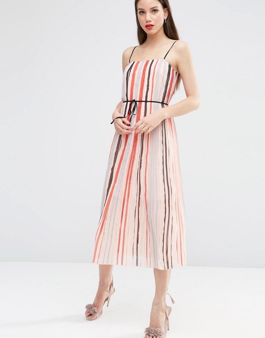 Cami Pleated Midi Dress In Stripe Multi - length: below the knee; sleeve style: spaghetti straps; pattern: vertical stripes; waist detail: belted waist/tie at waist/drawstring; secondary colour: coral; predominant colour: nude; occasions: evening, occasion; fit: fitted at waist & bust; style: fit & flare; fibres: polyester/polyamide - 100%; hip detail: soft pleats at hip/draping at hip/flared at hip; sleeve length: sleeveless; texture group: sheer fabrics/chiffon/organza etc.; neckline: low square neck; pattern type: fabric; pattern size: standard; multicoloured: multicoloured; season: s/s 2016; wardrobe: event