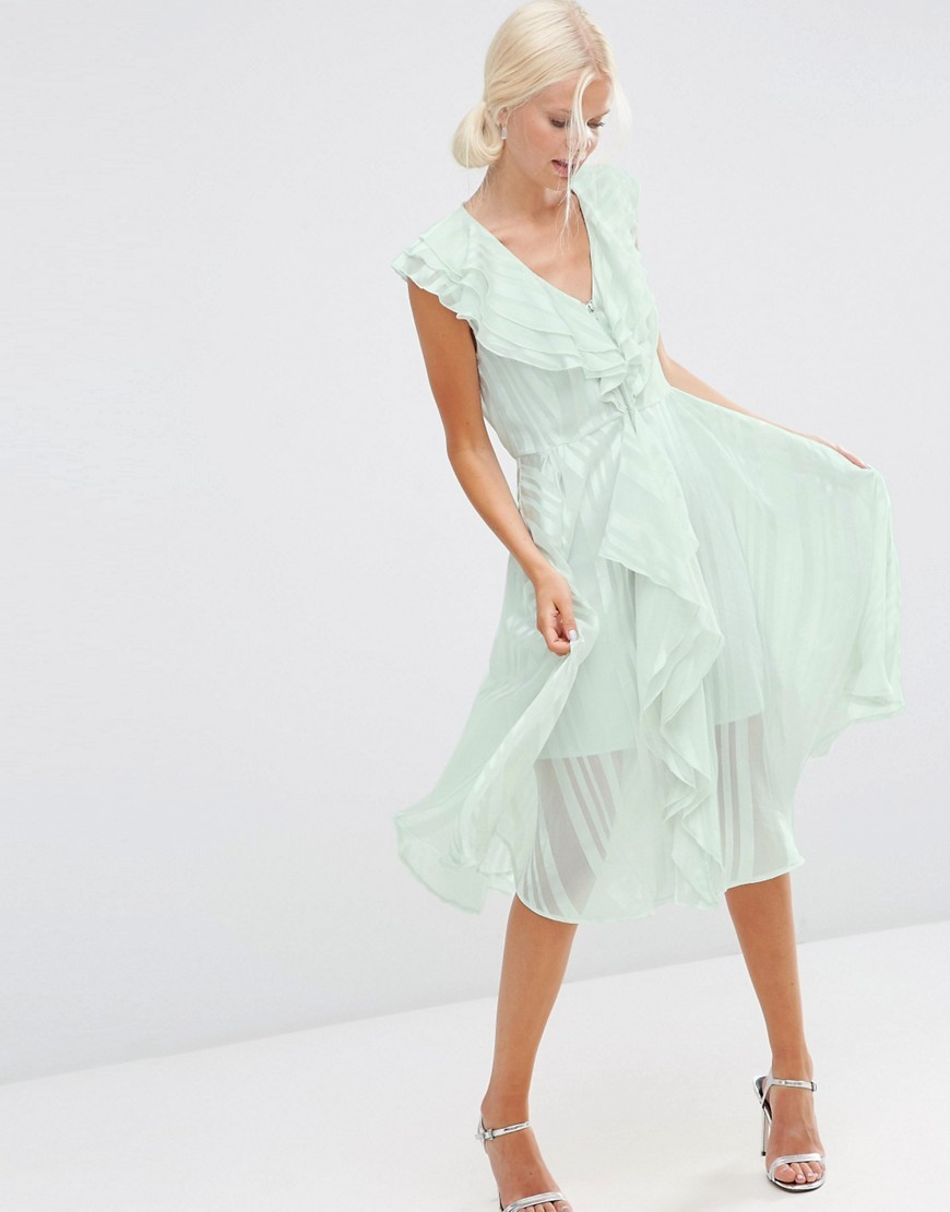 Ruffle Self Stripe Zip Front Midi Dress Mint - length: below the knee; neckline: low v-neck; sleeve style: capped; pattern: vertical stripes; predominant colour: pistachio; occasions: evening, occasion; fit: fitted at waist & bust; style: fit & flare; fibres: polyester/polyamide - 100%; hip detail: subtle/flattering hip detail; sleeve length: short sleeve; texture group: sheer fabrics/chiffon/organza etc.; bust detail: bulky details at bust; pattern type: fabric; pattern size: light/subtle; season: s/s 2016; wardrobe: event